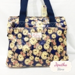 กระเป๋า 5 ซิปใบใหญ่ Chalita wu สีกรม ลายนาฬิกา