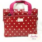 กระเป๋า 5 ซิปใบใหญ่ Chalita wu สีเลือดหมู ลายจุด