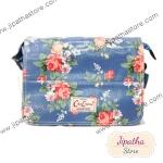 กระเป๋าสะพาย Chalita wu สีฟ้า ลายดอกไม้