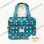 กระเป๋า 5 ซิปใบใหญ่ Chalita wu สีฟ้าอ่อน ลายจุด