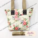 กระเป๋า Chalita wu + สายสะพาย  สีเหลือง ลายดอกไม้