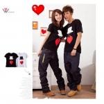 เสื้อยืดคู่รัก ชุดคู่รัก เสื้อคู่ เสื้อคู่รักเกาหลี เสื้อยืดคู่รักผ้าฝ้าย สีขาว-ดำ ลายหัวใจใส่หมวก