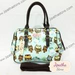 กระเป๋า Chalita wu + สะพาย สีฟ้า ลายนกฮูก
