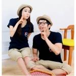 เสื้อคู่ เสื้อคู่รัก ชุดคู่รัก  เสื้อยืดคู่รัก ผู้ชาย +ผู้หญิง เสื้อยืดสีน้ำเงิน ผลิตจากผ้า cotton 100%
