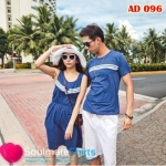 เสื้อผ้าแฟชั่น ชุดคู่รักแฟชั่นสไตล์เกาหลี ผู้ชายเป็นเสื้อยืดคอกลม+ผู้หญิงเป็นเดรสเเขนกุด สีน้ำเงิน