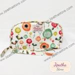 กระเป๋าสตางค์  Chalita wu สีขาว ลายดอกไม้หลากสี