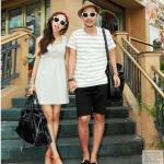 เสื้อคู่ เสื้อคู่รัก ชุดคู่รัก เดรสคู่รักเกาหลี ผู้หญิง –เดรสผ้ายืดสีเทา พอดีตัวสีเทา  + ผู้ชาย-เสื้อยืดคอกลม ลายขวาง สีขาวเทา