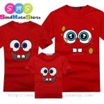 เสื้อครอบครัว ชุดครอบครัว เสื้อ พ่อ แม่ ลูก สีแดง ลาย สปองบ๊อบ ผลิตจากผ้าคอตตอน 100%