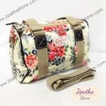 กระเป๋าทรงหมอน Chalita wu + สายสะพาย สีครีม ลายดอกไม้