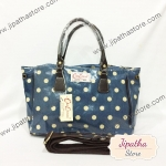 กระเป๋า Chalita wu + สะพาย จีบข้าง สีฟ้า ลายจุด