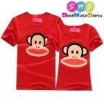 เสื้อคู่รัก ชุดคู่รัก เสื้อคู่ เสื้อยืดคู่รัก ผู้ชายเสื้อยืดคอกลม + ผู้หญิงเสื้อยืดคอกลม สีแดง สกรีนลายการ์ตูนลิงพอลแฟร้งค์
