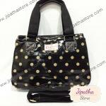 กระเป๋า Chalitawu 2 ช่อง + สายสะพาย ทรงเหลี่ยม สีดำ ลายจุด
