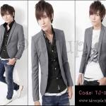 PRE-ORDER เสื้อสูทแฟชั่นเกาหลี สีเทาเข้ารูปทรงสวย