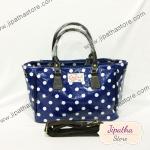 กระเป๋า Chalita wu + สะพาย จีบข้าง สีน้ำเงิน ลายจุด