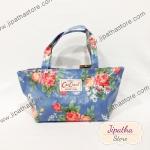 กระเป๋าถือใบเล็ก สีฟ้า ลายดอกไม้