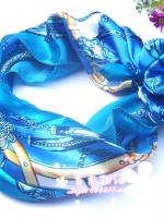 ผ้าพันคอผ้าซาติน ลายจักรพรรดิสีฟ้า