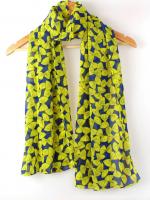 ผ้าพันคอชีฟองสีน้ำเงินลายโบว์เหลือง