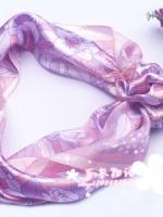 ผ้าพันคอผ้าซาติน Flower pink lovely