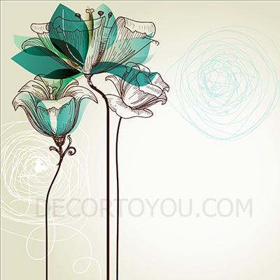 ภาพดอกไม้ลายเส้น กรอบลอย 40x40 cm.