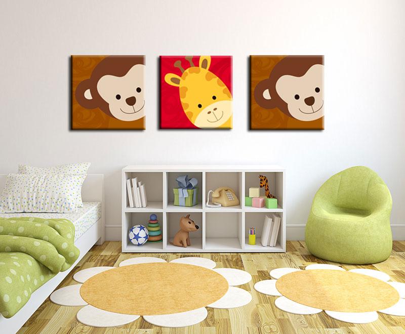 """ภาพการ์ตูน """"ลิง"""" กรอบลอย 25x25 cm."""