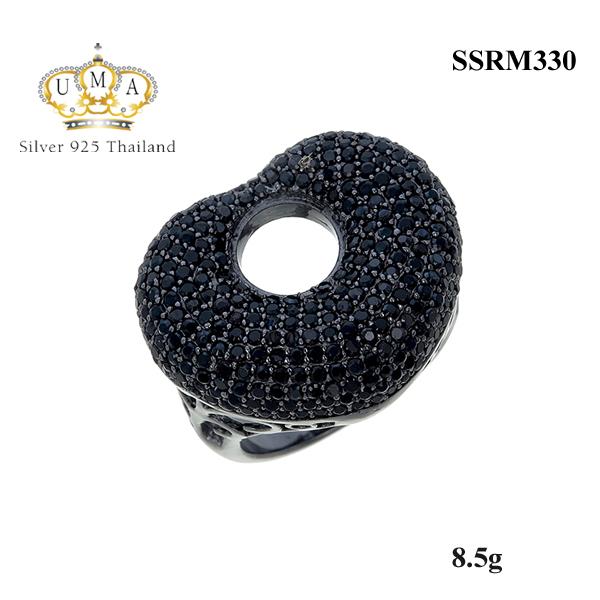 แหวนเงิน ประดับเพชร CZ แหวนทรงหัวใจฝังเพชรกลมดำ ฉลุตรงกลางเป็นรูปวงกลม งานประณีต สวยหรูดูแพง