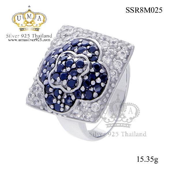 แหวนเงิน ประดับเพชร CZ แหวนดอกไม้ทรงสี่เหลี่ยม สวย เก๋ และมีสไตล์ ระยิบระยับมาก เรียกว่าขยับนิ้วที่นี่แสบตาเลยล่ะค่ะ