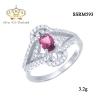 แหวนทองคำขาว ประดับเพชร CZ แหวนพลอยทรงรูปไข่สีชมพู ดีไซน์เก๋แปลกตา แหวนดูเลอค่า คลาสสิกสไตล์ เหมาะกับทุกไลฟ์สไตล์ของสาวๆทุกช่วงวัย
