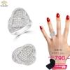 แหวนเพชรcz ประดับเพชร CZ แหวนทรงหัวใจ ฝังเพชรแบบเมหัวใจ ก้านแหวนเรียว ดีไซน์อ่อนช้อยมีมิติ แบบเรียบง่ายใส่ได้ทุกโอกาส