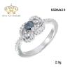 แหวนทองคำขาว ประดับเพชร CZ แหวนพลอยทรงรูปหัวใจสีรุ้ง ล้อมเพชร ทรงแบบโมเดิร์น จัดเต็มแบบหรูๆ ดีเทลสวยตรึงใจ