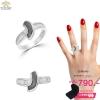แหวนทองคำขาว ประดับเพชร CZ แหวนเรียงแถวฝังเพชรสี่เหลี่ยม ดีไซน์เรียบหรู งามแบบพอดี