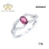 แหวนทองคำขาว ประดับเพชร CZ แหวนพลอยทรงรูปไข่สีชมพู บ่าฉลุฝังเพชรเรียง 2 แถว ดีไซส์หรูหรา เริ่ดมาก ปังสุดๆ รับรองว่าเป๊ะกับทุกลุค