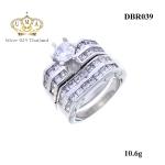 แหวนคู่ ประดับเพชรCZ แหวนชูคู่กับแหวนแถวล็อคคู่ สแตคเป็นเซต หรูหราใหญ่อลังการ เก๋กู้ดสะดุดตา ประทับใจแก่ผู้พบเห็น