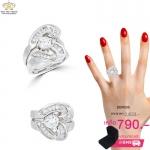แหวนเพชรคู่ ประดับเพชรCZ แหวนหัวใจประกบ สแตคแบบซ้อน 2 เก๋ไก๋มีความน่ารัก 1 set มี 2 วง สามารถใส่ เป็นคู่ หรือ แยก ใส่ได้ค่ะ