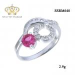 แหวนเงินแท้ ประดับ เพชรCZ แหวนพลอยสีชมพูรูปทรงกลมเหลี่ยมเกสร ดีไซน์เก๋สวยหรู เปล่งประกายเจิดจรัส แวววับงามจับใจ
