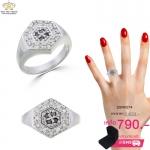 แหวนเงินแท้925 ประดับเพชร CZ แหวนทรงหกเหลี่ยมหน้าแหวนฝังเพชรกลมดำ 4 เม็ด ล้อมรอบด้วยเพชรกลมขาว เติมลุคสาวๆให้มั่นใจ