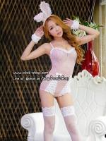ชุดกระต่ายแฟนซีสีชมพูพาสเทลสวยหวานน่ารักปนความเซ็กซี่แบบจัดเต็ม
