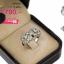 แหวนเพชร ประดับ เพชรCZ แหวนฉลุดอกไม้ 2 ดอก ฝังเพชรสี่เหลี่ยมล้อมรอบเพชรกลม ดีไซน์ทันสมัย ใส่ได้เข้ากับลุค thumbnail 2