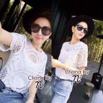 Cliona Made, White Short Sleeve lace Blouse