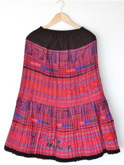"""Hilltribe Maxi Skirt - Pink (Waist 24-40"""")"""