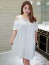 พรีออเดอร์-เดรสผ้าสีขาว เปิดไหล่ (XL,2XL,3XL,4XL)
