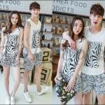 PRE-ORDER ชุดคู่รักน่ารัก เกาหลีใหม่ฤดูร้อนเสื้อกล้าม+กางเกงชายหาด เข้าชุดกันน่ารักสุดๆ ญ/ช.เสื้อกล้ามกางเกงขาสั้น