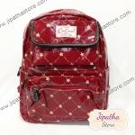 กระเป๋าเป้ Chalita wu สีเลือดหมู ลายดาว