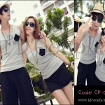 PRE-ORDER ชุดคู่รัก น่ารักๆ เกาหลีเดินชายทะเล ญ/ช.เสื้อกล้ามกางเกงขาสั้น สบายชิวๆ
