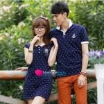 ดคู่รัก เสื้อคู่รักเกาหลี เสื้อผ้าแฟชั่น เดรสคู่รักเกาหลี มี 3 สี (ตัวเสื้อสีกรมท่า-ปกขาว,ตัวเสื้อสีเทา-ปกกรมท่า , ตัวเสื้อสีขาว-ปกกรมท่า)