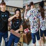 PRE-ORDER เสื้อยืดคู่รัก เกาหลีใหม่เนื้อผ้าฝ้ายยืดพิมพ์ลายการ์ตูนน่ารักๆ ญ/ช.เสื้อยืดแขนสั้น