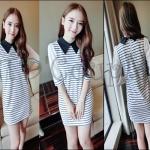 PRE-ORDER เดรสสั้นผู้หญิงเกาหลีใหม่ 2014 เดรสสั้นผ้ายืดปกแขนตุ๊กตาน่ารักๆ สีขาว