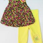 (พร้อมส่ง) Gymboree เสื้อทรงบอลลูนลายดอกไม้สีเหลือง-ชมพู ติดดอกไม้สีเหลือง พร้อมเลคกิ้งเข้าชุด