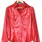 """Red Leather-cloth Blouse (Bust 37"""")"""