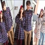 PRE-ORDER ชุดคู่รัก น่ารักๆ เกาหลีใหม่ 2014 ชุดเนื้อผ้าฝ้ายแขนยาวลายสก๊อตน่ารักๆ ญ.เดรสสั้น/ช.เสื้อเชิ้ต