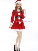 ชุดชุดคริสมาสต์ผู้หญิงแขนยาวแฟนซีน่ารัก